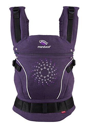 manduca Porte-bébé > Édition limitée 2018 PurpleDarts < Broderie de haute qualité, 100 % coton bio, ventral, dos et hanche, pour bébés de 3,5 kg à 20 kg, violet avec broderie