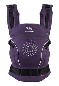 manduca First Baby Carrier > PureCotton < Mochila Portabebe Ergonomica, Algodón Orgánico, Extensión de Espalda Patentada, para Recién Nacidos y Bebés de 3,5 a 20 kg (PurpleDarts, Limited Edition)