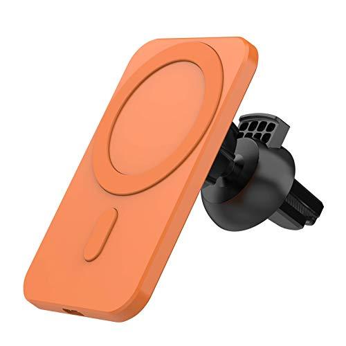 Allsmart Billaddare för iphone 12, 2 A trådlös magnetisk mobilladdare montering med kulled, QI bil luftventilation laddare för iPhone 12/12 Pro Huawei Vivo Oppo (orange)