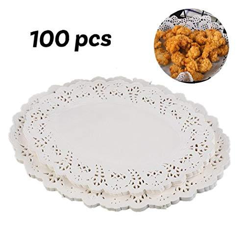 JBNS 100 Stück Papier Deckchen Einweg-weiße Spitze Dekorative Deckchen Oval Dekorpapier Platzdeckchen Masse Für Geschirr, Dekoration Kuchen Verpackung (7.5x10.5 Inch)