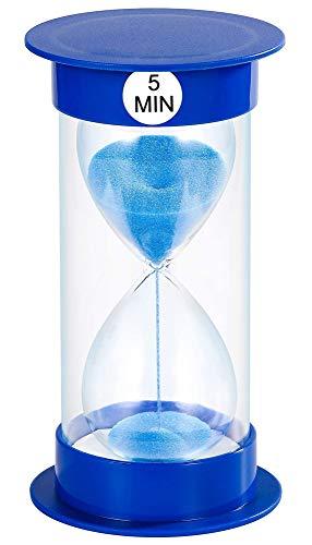 Temporizador de arena reloj de arena de reloj de arena de 5 min / 10 minutos / 15 mins / 20 mins / 40 mins / 45 mins / 60 minutos para decoración de salón de clase hogar y oficina (5 mins, azul)