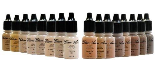 Glam Air Maquillaje aerógrafo Set de 16 tonos de maquillaje mate base de agua de larga duración de 7 g (ideal para piel normal a grasa)