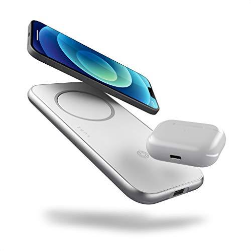 ZENS 3en1 Cargador inalámbrico de Aluminio con Ranura MagSafe para el Apple iPhone Serie 12 (Fuente de alimentación de 45W con Adaptador EU/UK/US Incluido, Puerto USB Adicional)