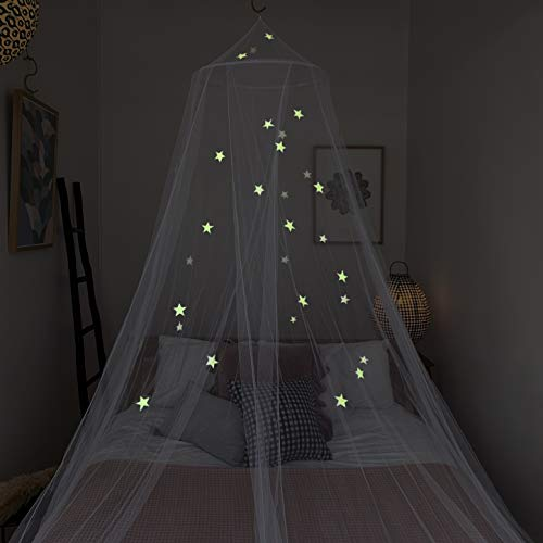 Zeke and Zoey Kids Hanging Bed Canopy for Girls Bed or Boys with Glow in The Dark Stars to fit Full Size Bed. Bed Netting Stars Will Light up Your Child's own Galaxy. Bedroom Decorative Tent