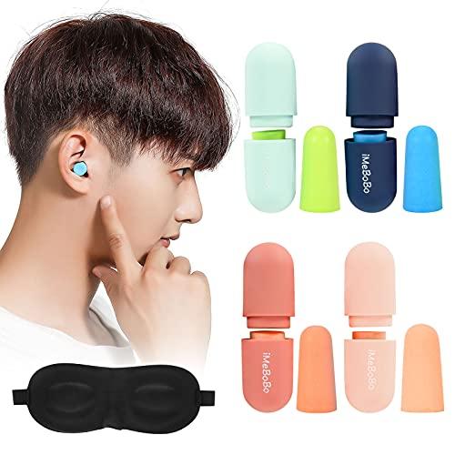 ZitFRi 耳栓 睡眠用 遮音値38dB 安眠 防音 みみせん ノイズキャンセリング最強 防音 耳栓 飛行機/いびき /射撃 / 仕事 /勉強 /旅行 スポンジ耳栓 水洗い可能 繰り返し使用可能最強 聴覚過敏 騒音対策 4ペアの耳栓とアイマスク
