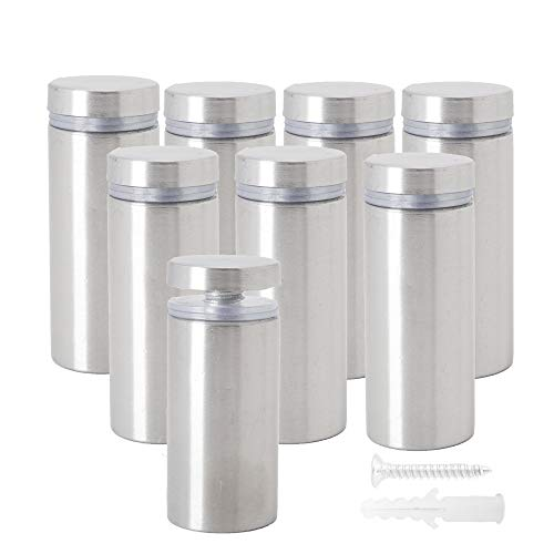 Osring 1in Dia x 4in Ln Wall Standoffs Stainless Steel Large Sign Standoff Holder, Brushed Nickel Screw Standoff Mount Glass Standoff Hardware for Acrylic Board and Sign Display, 8 Pack