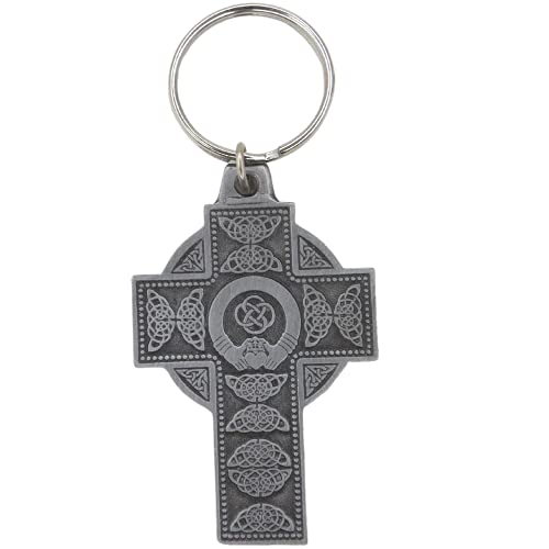 Pewter Religious Celtic Cross with Claddagh Auto Keychain Medal, Interior Car Accessories for Men, Irish Gifts for Women, 2 1/2 Inch