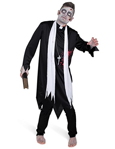 Men's Zombie Priest Costume, for Halloween Costume Party Accessory, Large Black and White