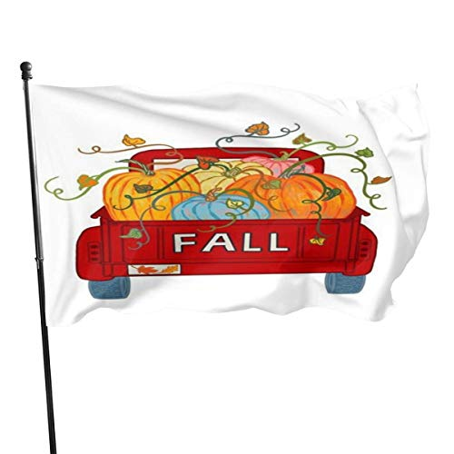 Oaqueen Flagge/Fahne Fly Breeze Garden Flag House Flag Yard Banner Flag-Happy-Fall-Ya\'ll-Truck Outdoor Seasonal and Holiday Yard Flag Banner 3x5 Ft (90x150cm)