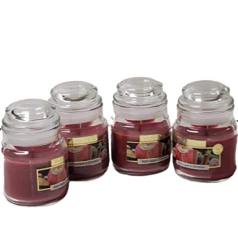Wickford & Co Scented Candle Jars Luxury Fragranced for Home Pack of 4 x 70g Candles (4X Warm Apple & Cinnamon)