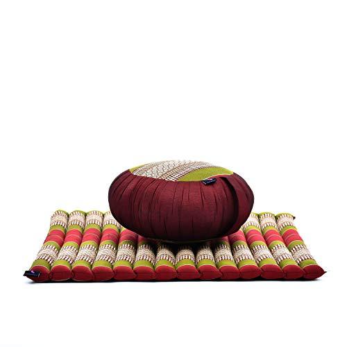 LEEWADEE Set per meditare: Tappeto per Yoga Zabuton e Cuscino per Meditazione Zafu, materassino Tailandese in kapok Fatto a Mano, Rosso Verde