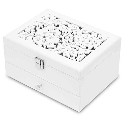 Charming House Design, Schmuckkästchen aus Holz, mit Schublade, für Schmuck, Weiß