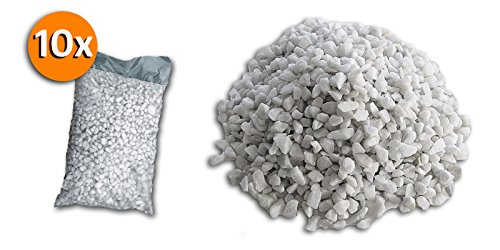 Metroquadrocasa 10 Sacchi da 25kg graniglia di marmo Bianco Carrara 8/12mm decorazione giardino