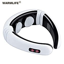 CAODAN Electric Pulse Back and Neck Massager far Infrared Heating Pain Relief Tool Healthcare Relaxation-Pearl White