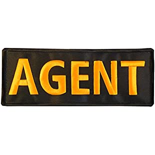 AGENT Large XL 10x4 inch Vest Morale SWAT Police Embroidered Nylon Fastener Patch
