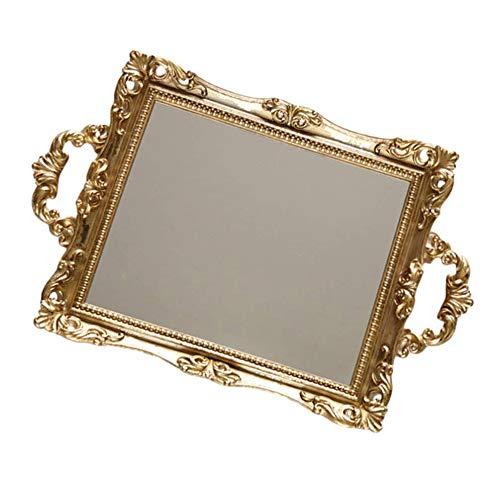 Mogzank Bandeja de Espejo de Tocador Espejo Decorativo para Organizador de Perfumes Bandeja de Servicio con Asa Plato de Plato de Maquillaje de Tocador de Joyas