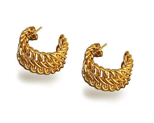 Celtic Knot Love Chunky Gold Plated Wide Small Hoop Earrings for Women Girls Sensitive Ears Dainty Filigree Hoops Hypoallergenic Fashion Jewelry 2019
