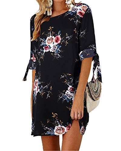 Kidsform Sommerkleid Damen Casual Langes T-Shirt Kleid Lose Tunika Kurzarm Rundhals Minikleid mit Bowknot Ärmeln, L=EU40, Blumen-blau