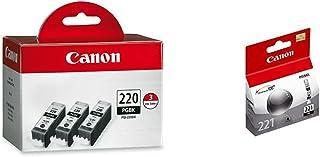 Canon PGI-220 Black Triple Pack & CLI-221 Black Ink Tank Compatible to MP980, MP560, MP620, MP640, MP990, MX860, MX870, iP...