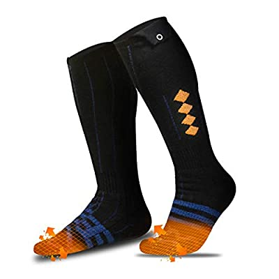 Heated Socks for Men Women, 2020 Upgraded Rechargeable Electric Heat Socks with 4 Heating Setting, 5000mAh Thermal Sock for Outdoor Riding Camping Hiking Motorcycle Skiing Snowboating (Black / Orange)