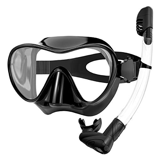 Rodicoco Snorkel Set Frameless Snorkel Goggles Foldable Snorkel Gear Detachable Snorkel Mask with 180° Panoramic View and Anti Fog Tempered Glass for Swimming Scuba Diving Snorkeling(Black, Adults)