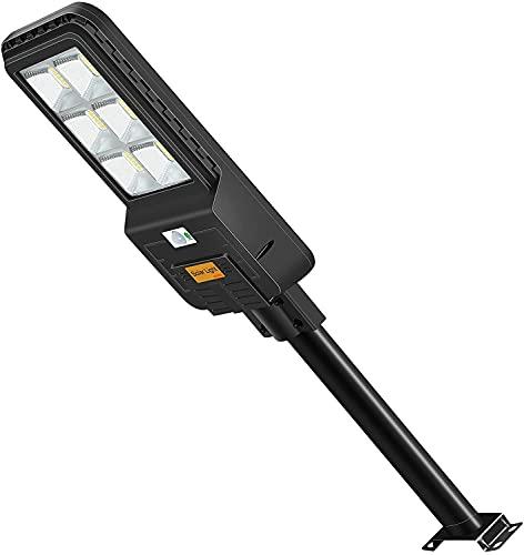 LEDMO 300W Lampione Solare LED Esterno con Pannello Solare,Lampione Solare 6500K Bianco Freddo,Lampione LED con Sensore di Movimento Radar, 396LEDs,Telecomando, IP65 Impermeabile