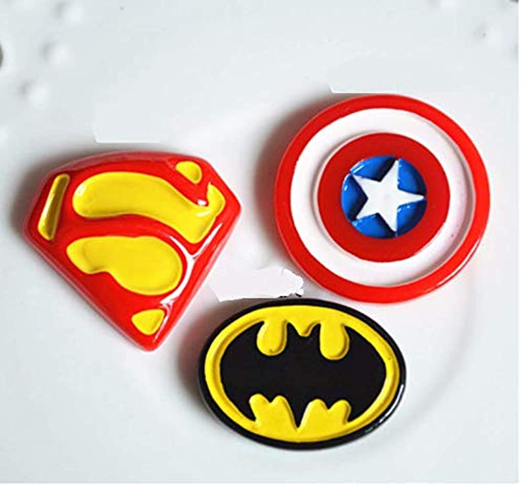 Astra Gourmet Superheroes Charms Set- 24pcs Batman CPT Superman Charms Resin Cabochons for Craft Making, Ornament DIY Crafts