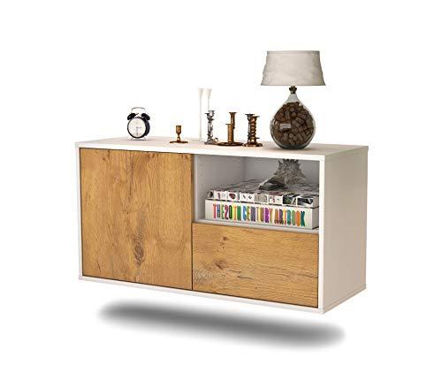 Lowboard Houston hangend (92 x 47 x 35 cm) corpus wit mat | front hout design eiken | Push-to-Open | hoogwaardige lichtlopende rails