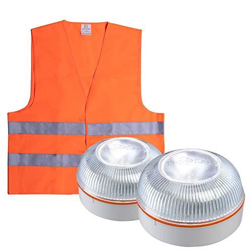 HELP FLASH PK2702 2X luz Emergencia AUTÓNOMA, señal preseñalización Peligro+Linterna, normativa DGT, V16, Base imantada, activación AUTOMÁTICA, y de Regalo, Chaleco Reflectante HOMOLOGADO