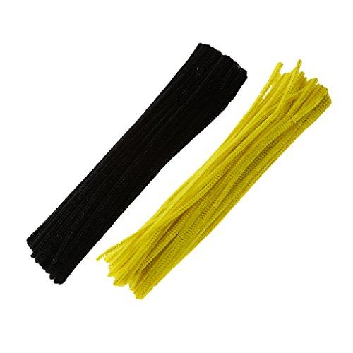 Bonarty 200 Stücke Chenille Vorbauten Rohrreiniger DIY Handwerk Material Zubehör Für Kinder Kreativität Lernspielzeug Kinder Geschenk Gelb Und Schwarz Farbe M