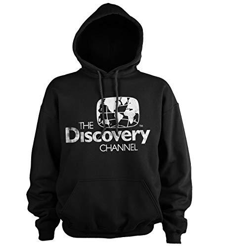 Discovery Officiellement sous Licence Channel Distressed Logo Sweat À Capuche (Noir), L