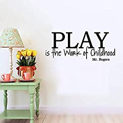 Tiuep Mural Saying Wall Decal Sticker Art Mural Home Decor Quote Nursery Wall Decal Quotes Play is The Work of Childhood for Playroom Nursery Kids Room