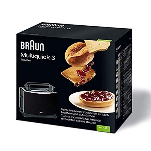 Braun Multiquick 3 HT450 Toaster | Doppelschlitz Toaster mit Brötchenaufsatz | Auftaufunktion | Krümelschublade | Wärmeisoliertes Gehäuse | Schwarz [Energieklasse A]