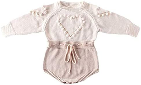 Newborn Baby Girl Sweater Romper Heart Long Sleeve Knitted Bodysuit Jumpsuit Fall Winter Clothes product image