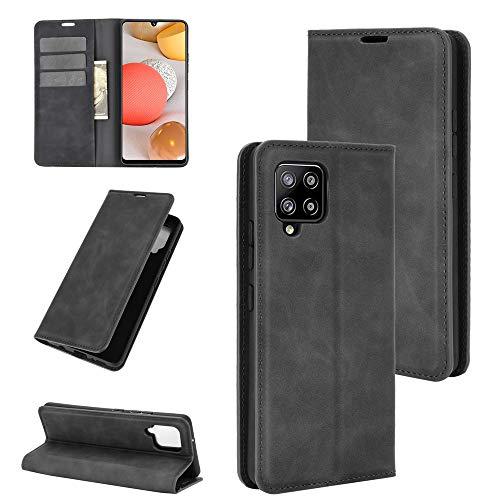 Fertuo Hülle für Samsung A42 5G, Handyhülle Leder Flip Hülle Tasche mit Kartenfach, Magnetverschluss, Silikon Innenschale Schutzhülle Cover Lederhülle für Samsung Galaxy A42 5G Smartphone, Schwarz