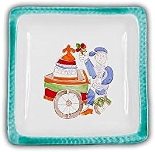 Hand Painted Italian Ceramic Square Plate - Gelato - Handmade in Sicily