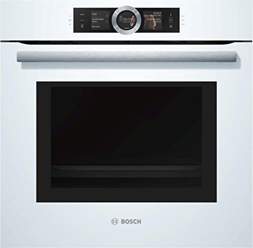 Bosch HNG6764W6 Serie 8 Einbau-Backofen mit Mikrowellen- und Dampffunktion / 67 L / 1 L Wassertank / 800 W / Weiß / Klapptür / TFT-Display / 14 Beheizungsarten / Bosch Assist / Pyrolyse / Home Connect