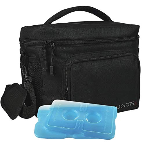 X Large Insulated Lunch Bag Cooler Tote With 2 Reusable Cooler Ice Packs Easy Pull Zippers Detachable Shoulder Strap Roomy Compartments For Lunch Box Bottles Containers Travel Camping More