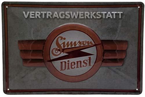 Simson Kundendienst Werkstatt Retro Blechschild Schwalbe Mokick Kleinroller Motorrad Werbung Reklame-Marke-Schild-Magnet-Metallschild-Werbeschild-Wandschild