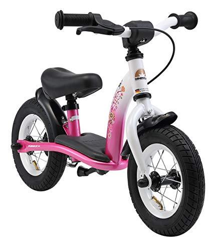 BIKESTAR Laufrad für Kinder, mit Luftreifen und Bremsen, für 2-jährige, 10-Zoll-Reifen (25,4 cm), Klassische Edition, in Flamingo-Pink und Diamant-Weiß