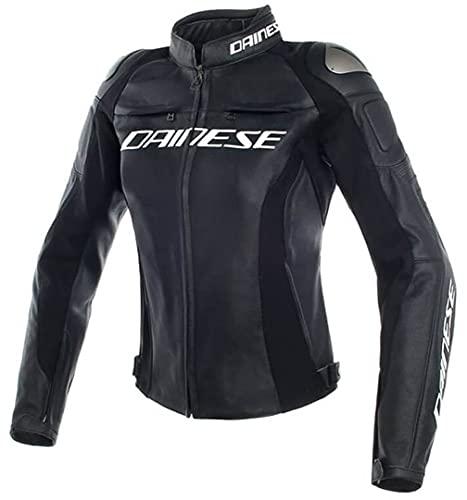 Dainese Motorradjacke mit Protektoren Motorrad Jacke Racing 3 Damen Lederjacke schwarz 42 (S), Sportler, Sommer