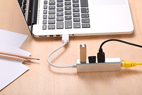 Nllano USB C zu Ethernet Adapter mit 3 USB 3.0-Ports, RJ45 Gigabit Ethernet LAN Netzwerk Adapter (Typc-C Silber)