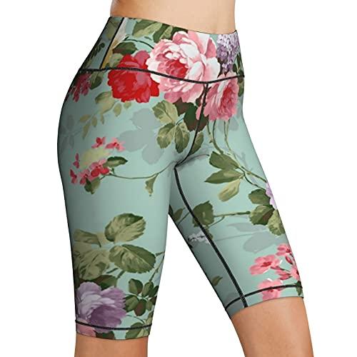 AMRANDOM Biker Shorts for Women High Waist Shabby Chic Flowers Roses Pedals Dots Leaves Buds Yoga Shorts Women's Workout Running Shorts, Moisture Wicking and Comfortable Elastic Yoga Shorts, Medium
