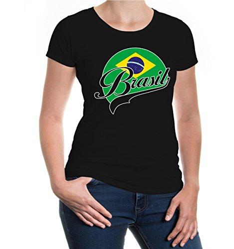 buXsbaum® Damen Girlie T-Shirt Brasilien Logo | Brasil Brazil Amerika Ländershirt Fanshirt Flagge Trikot Reise | L, Schwarz