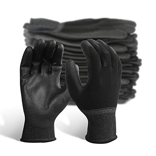 EvridWear Ultralight Breathable High Dexterity Polyurethane Coated Safety Gloves Ideal for Light Duty Work Tight Knit Wrist for Precision Work, Gardening Electronic Painting 12 Pairs Pack Black 8/M