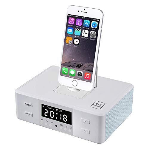 hll-036 Mesita de Noche Reloj Despertador Bluetooth Altavoz FM Radio Lightning Dock para iPhone X 5S 5C 6 6+ 6S 7 7+ iPad Air Mini iPod,White