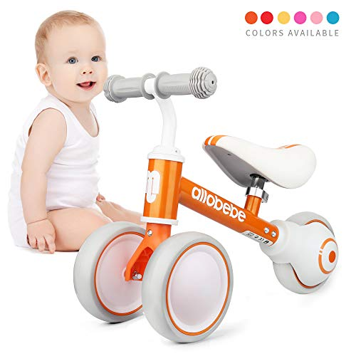 allobebe Baby Balance Bike-Cute Toddler Bikes 12-36 Months Toys for 1 Year Old Gift Bike to Train Baby from Standing to Running with Adjustable Seat Silent & Soft 3 Wheels