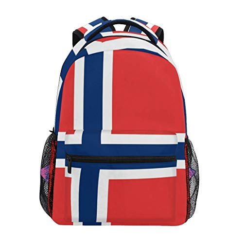 Mochila con Estilo Bandera Noruega Mochila- Bolsas Ligeras de Viaje para la Escuela universitaria 16 X 11.5 X 8 Pulgadas