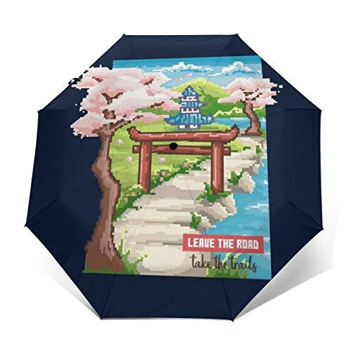 Leave The Road Take The Trails Japanischer Garten-Sonnenschirm, Winddicht, kompakt, automatisch, faltbar, Reise-Sonnenschirm