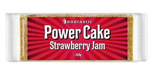Foodtastic Power Cake Strawberry Jam (12 x 120g) | leckere, saftige Haferriegel | handgemachte Flapjack Energieriegel aus Haferflocken